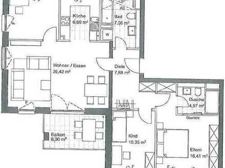 Exklusive, 4 (3.5) -Zimmer-Wohnung mit Balkon und EBK in Frankfurt Europaviertel