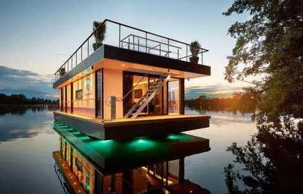 Luxus Hausboot: ca. 70 m² Wohnen – ca. 80 m² Sonnenterrasse – Kamin, Sauna, komplett individuell