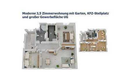 Moderne 3,5-Zimmer-Wohnung in Ludwigsburg mit Garten, KFZ-Stellplatz und vermietbare 72 m² im UG!