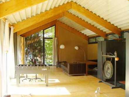 1 FH freistehend. - Bauhaus - loftähnlich,giebeloffen,Trapezblechdach.