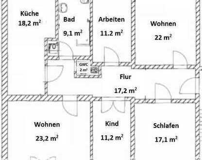 Sanierte 5-Zimmer-Wohnung mit Balkon in Halle (Saale)