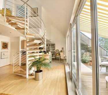Luxus pur: offene Galeriewohnung über zwei Ebenen mit zwei Dachterrassen
