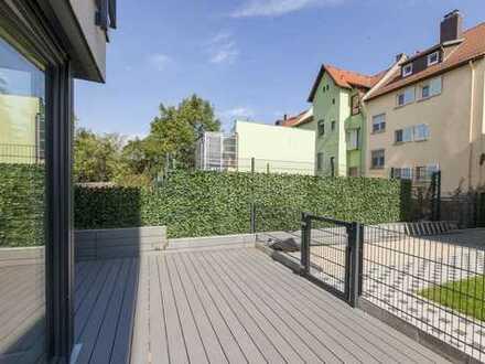 Schwanheim: 3-Zimmer Neubauwohnung mit Einbauküche und Garten Grüne Lage, Nähe Mainufer