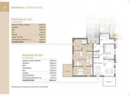 2-Zimmer Erdgeschosswohnung mit Terrasse und Gartenanteil (Whg 27)