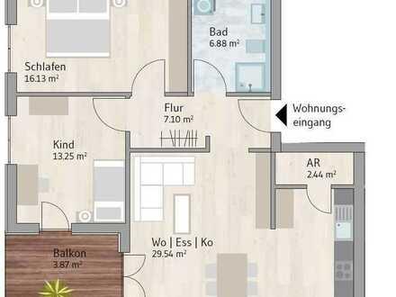 Helle 3-Zimmer-Wohnung im EG mit Süd-/Westausrichtung