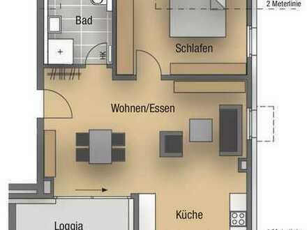 Großzügige 2 - Zimmer - Wohnung im Dachgeschoss