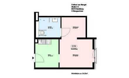 *Neubiberg*möblierte 1-Zimmer Wohnung *direkt an der S-Bahn* mit EBK und Parkett *