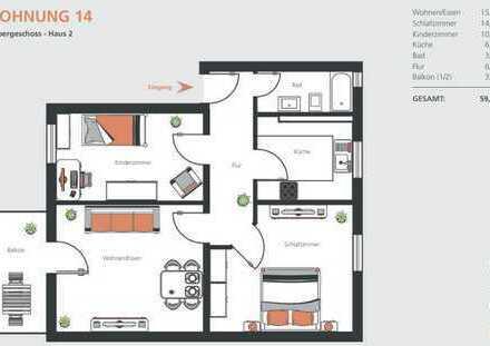 KfW70 Erstbezug nach Sanierung mit Balkon: ansprechende 3-Zimmer-Wohnung in Dillingen a.d. Donau