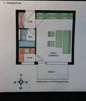 Schöne, geräumige Single-Wohnung mit sonnigem Balkon