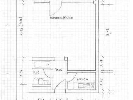 Gepflegte 1-Raum-Hochparterre-Wohnung möbliert mit Balkon und Einbauküche in Bad Wildbad-Calmbach
