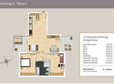 Großzügige 3,5-Zi.-EG-Wohnung mit Gartenanteil und 2 Terrassen