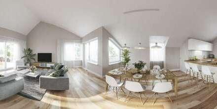 Wohnen mit Penthausgefühl: große vier Zimmer Dachwohnung mit hohen Decken