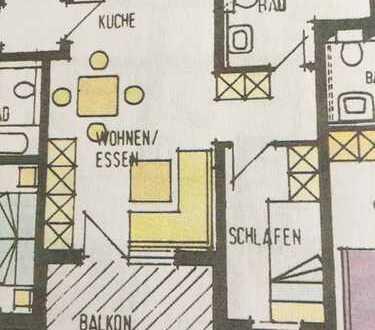 Schöne gepflegte Nichtraucher 2-Zimmer-Wohnung mit Balkon und Einbauküche in Bad Ditzenbach