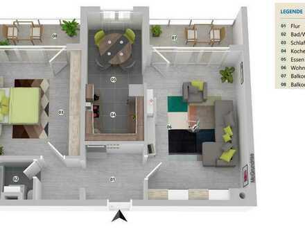 Wohnoase u. Feriendomizil: Moderne, ruhige 2 Zi. ETW, Blick ins Grüne, 2 Balkone, Hund erlaubt