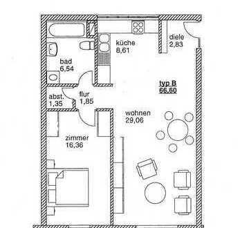 Berlin Teltow - toll geschnittene 2 Zimmer Wohnung mit großem Südbalkon
