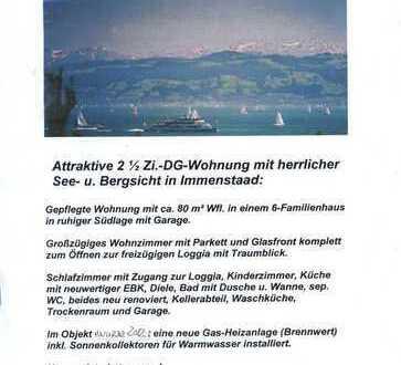 2,5 Zi. lichtdurchflutete Dachgeschoss-Wohnung mit See- und Bergsicht in Immenstaad am Bodensee