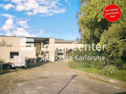 Halle + Haus auf großem Grundstück mit Bauplatz