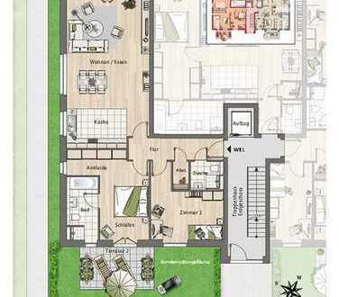 Erdgeschoss-Wohnung mit 2 Terrassen und Garten!
