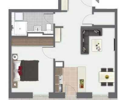 Moderne Neubau-2-Raum-Wohnung mit Balkon