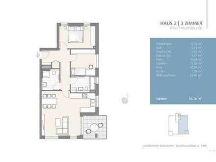 Erstbezug: wunderschöne 3-Zimmer Wohnung mit EBK im 2. OG