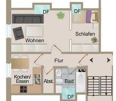 2 Zimmer-Eigentumswohnung (DG) mit gem. Garten + PKW-Stellplatz von Kandel