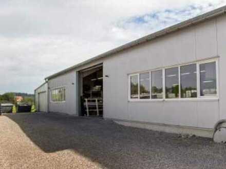 Lager & Produktionshalle mit Rolltoren, Leidstand & Parkplätzen