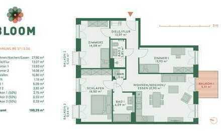 Erstbezug: attraktive 4-Zimmer-Wohnung mit Balkon Richtung Süden