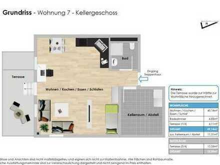 Top Kapitalanlage oder für den anspruchsvollen Single - UG Wohnung mit sonniger Terrasse KfW 55