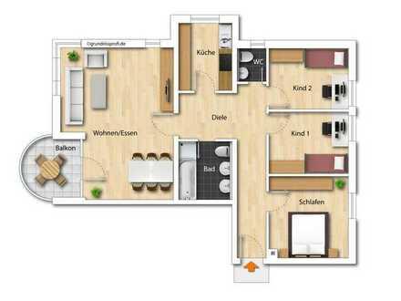 Schöne 4-Zimmer Wohnung in guter Lage mit Balkon und Tiefgaragenplatz zu vermieten
