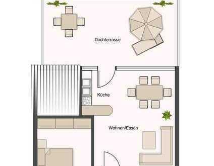 Riesige Sonnenterrasse, helles Wohnzimmer mit Küche ...