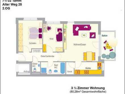 Stilvolle, neuwertige 3,5-Zimmer-Wohnung mit Balkon und TG, S-Bahn Anschluss