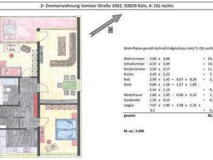 Exklusive, gepflegte 3-Zimmer-Wohnung mit Balkon in Vogelsang, Köln