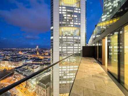 Wohnerlebnis in der 21. Etage mit Skylineblick: Hochwertige 3-Zimmer-Eckwohnung