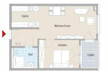 Sehr gut geschnittene 2-Zimmer-Wohnung im betreutem Wohnen