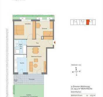 Neuwertige 3 Zimmer Erdgeschoss Wohnung mit Terrasse und Garten in Remseck - Pattonville