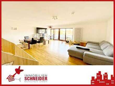 IMMOBILIEN SCHNEIDER - HARLACHING - schöne 3 Zi.-DG-Wohnung mit großer Terrasse und Außenkamin