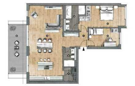 Grafental Erstbezug Jan. '19 - Helle Premium 3 Zi. Wohnung im 3. OG, 2 Bäder, mit TG