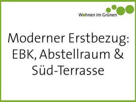 EBK, TERRASSE & ABSTELLRAUM: moderne 3-Zimmer-Wohnung in grünem Quartier