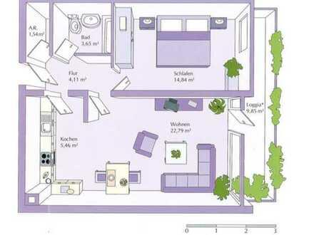 Attraktive 2 Zimmerwohnung mit Balkon. Provisionsfrei