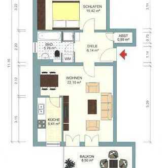 DA-Arheilgen, gepflegte, moderne 2-Zimmer-Wohnung, kein HH, EBK, TGL-Bad, Balkon, TG-Platz