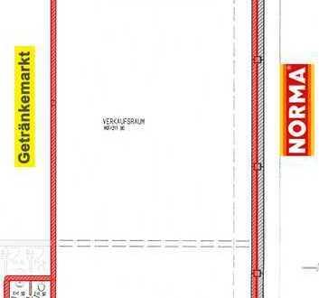 222 m² große attraktive Einzelhandelsfläche zwischen NORMA-Filiale und Getränkemarkt zu vermieten