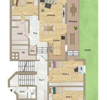 Große Gartenwohnung mit Split-Level