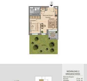 Ausgezeichnete 2-Zimmer-Wohnung im Erdgeschoss mit Garten (Whg. 2)