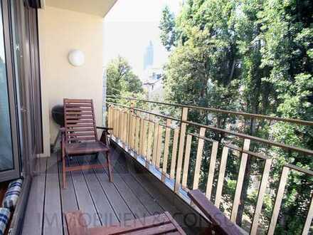 WESTEND SUITES:  zentral und ruhig gelegene Wohnung mit schönem Balkon, Skyline-Blick, Lift & TG