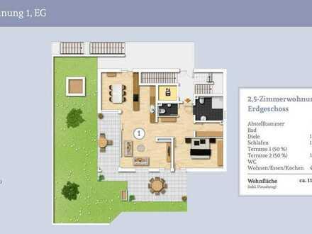 Großzügige Erdgeschosswohung mit 2 Terrassen und großem Privatgarten