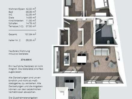 IM ALTER ZU HAUSE WOHNEN - helle, barrierefreie 3-Zimmer-Neubauwohnung (EG) mit Garten und Carport