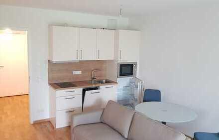 Erstbezug: *Möblierte* 1-Zimmer-EG-Wohnung mit EBK und entspannender Terasse in Offenbach am Main
