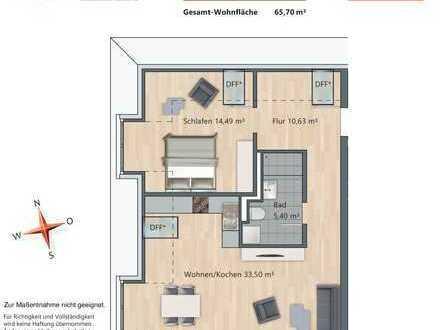 Freiraum und Komfort: großzügige und sonnige 2-Zimmer-Neubauwohnung mit Dachterrasse in Ramersdorf