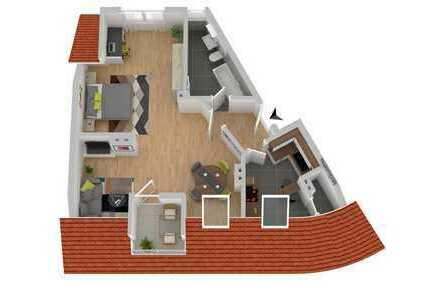 Freundliche 2-Zimmer-Wohnung mit Dachterasse in Ludwigshafen Mitte