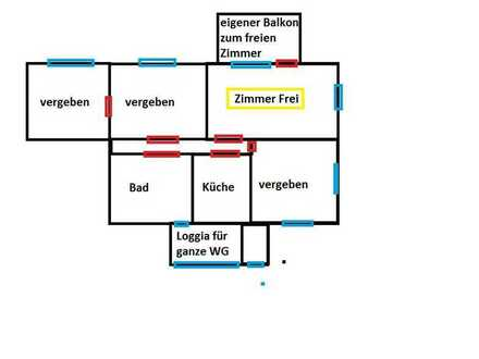 großes Möbliertes Zimmer mit eigenem Balkon, in sehr gemütlichen & ruhigen WG für Pendler, & co.